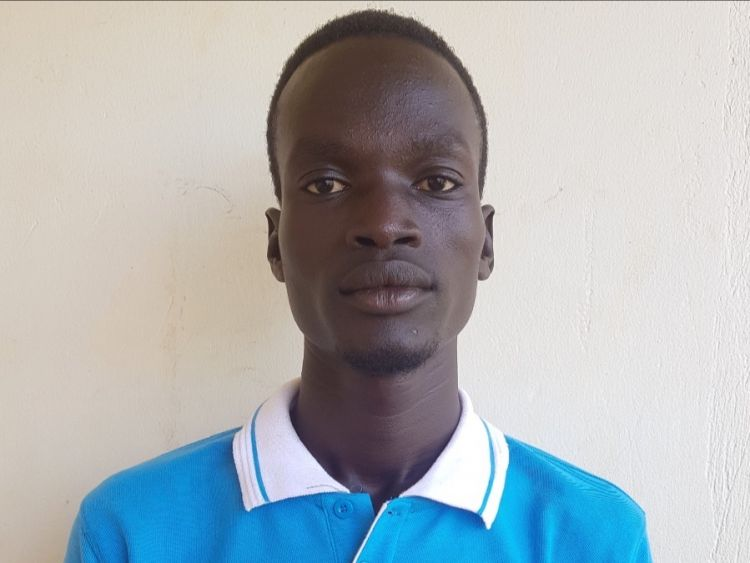 Nathaniel, a South Sudanese refugee living at the Kiryandongo Refugee Settlement
